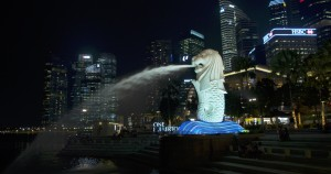 The Merlion after a quick grade.