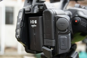 Two SD card slots as well as HDSDI, HDMI, USB and power on the back of the HM650.