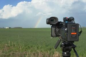 Rainbow under a severe thunderstorm.