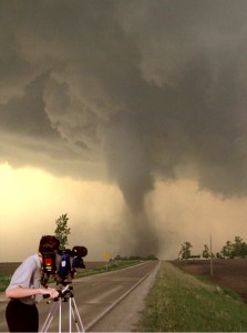 Me, shooting a tornado for National Geographic.