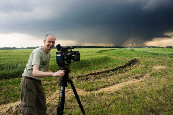 Me shooting a tornado with the PMW-F5 and AXS-R5 on my Miller Solo tripod.