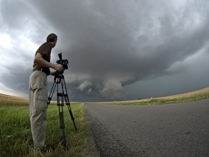 Shooting a severe storm in Texas on a previous tour.