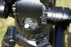 Miller Compass 15 head tilt drag and balance controls. The levelling bubble is illuminated.
